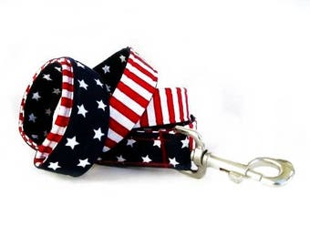 4th of July Dog Leash, Red White and Blue Stars and Stripes, Memorial Day Dog Leash, Labor Day Leash, 4 Foot Leash 5 Foot Leash 6 Foot Leash