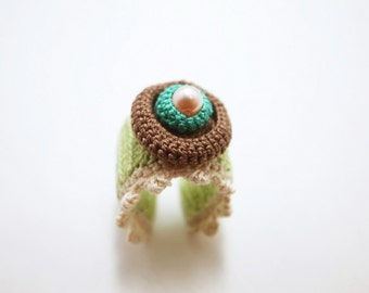 Crochet Lace Jewelry (Lace Fantasia 3-b) Crochet Ring Statement Ring Fiber Ring