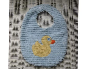 Chenille Baby Bib, yellow Duck on powder blue, Vintage