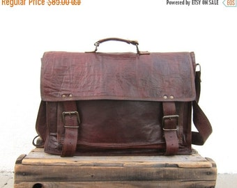 15% OFF Out Of Town SALE Satchel Briefcase Messenger Bag Goat Skin Leather Rugged Tan Work Bag