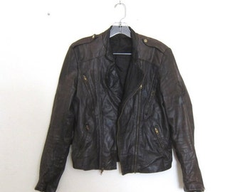 15% OFF Out Of Town SALE 80s Vintage Distressed Black Brown Leather Motorcycle Biker Jacket Size Mens S/M, Ladies M/L