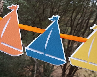 Little Sailboat Floating Garland in Teal Blue, Golden Yellow, Orange, and White