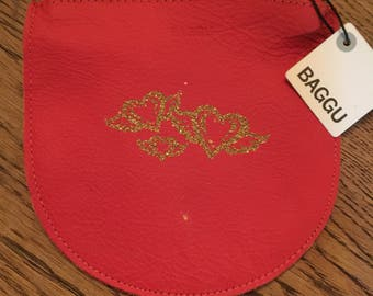 Vintage Baggu Poppy Gold Small Leather Pouch Bag