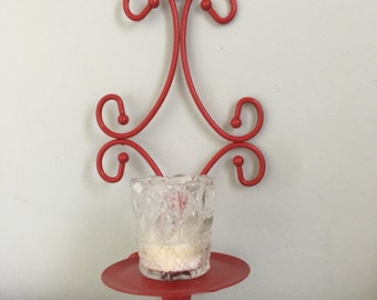 Red Wall Sconce / scrolled Wall Sconce / Vintage Wall Sconce / Metal Wall Sconce