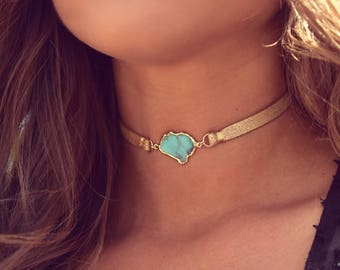 SICILY CHOKER /// Turquoise Leather Choker