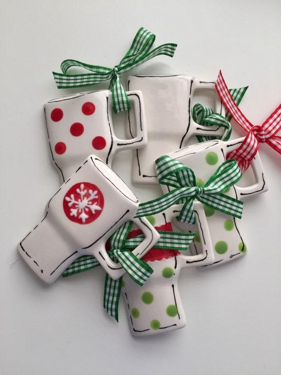 Coffee lover, Coffee addict ornament, Christmas coffee ornament,  hand painted, ceramic, coffee ornament