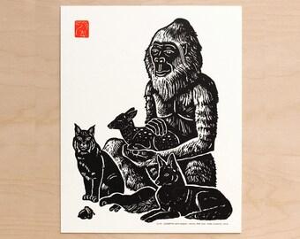 Sasquatch with Bobcat, Coyote, and Doe - Handmade Lettpress Print
