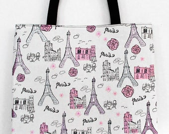 Paris Theme Tote Bag - Eiffel Tower Sparkle Glitter - Large Tote Carryall Book Bag - Ready to Ship