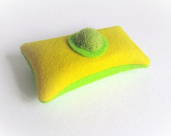 bright yellow lavender sachet made of felt, green felt lavender sachet, coworker gift, arty hostess gift, bright dresser decor, lavender