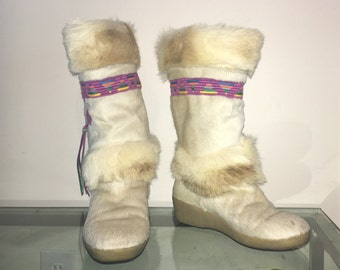 size 9 9.5  vintage MUKLUK boots goat fur made in Italy