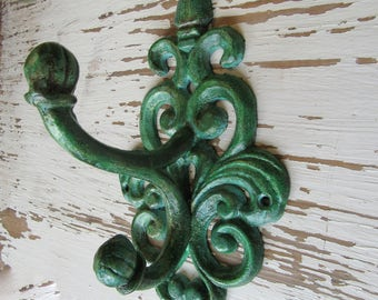 Patina Wall Hook Antiqued Hanger Cast Iron Farmhouse Traditional Cottage with 2 Chunky Hooks Eye Pleasing Scroll Design Verdigris H-9