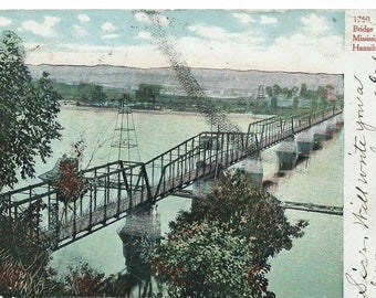 Vintage 1907 UDB Postcard, Bridge Crossing The Mississippi River, Hannibal, Mo.
