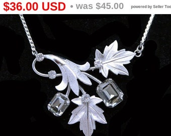 Sterling Silver Leaves Pendant Necklace - Pendant signed Van Dell Sterling and Necklace Chain - Vintage Silver Leaves  & Smokey Rhinestones