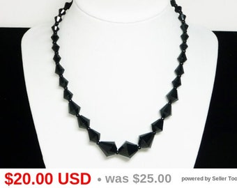 Black Glass Bead Necklace - 1950's Western Germany Beaded Single Strand Necklace - European Vintage West German Jewelry -