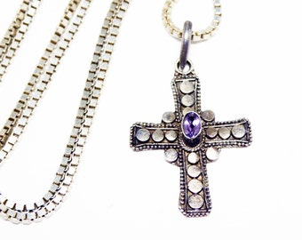Sterling Silver Cross Pendant - Sterling Box Chain Necklace - Signed 925  - Modernist Style - Purple Stone - Christian Religious Jewelry