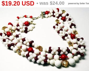 Spring Sale Red White & Crystal Bead Necklace - Triple Multi Strand - Marked Japan - 1940's 1950's Era Beaded Design - Great Holiday Design