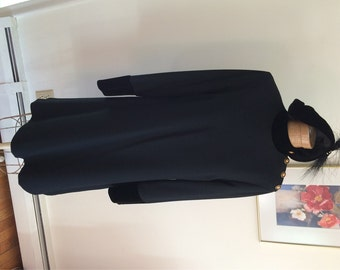 Evan Picone Dress LBD 80's Power Dress Black Wool Sheath Dress with Fancy Buttons and Velvety Detailing