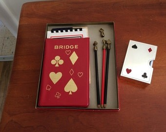 Bridge Pak and Playing Cards in Fancy Silver Tone Case Fancy Notebook for Scoring and Rules Fancy Pencils Hearts Spades Diamonds Clubs