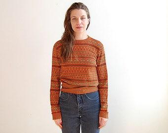 vintage 70's orange pattern sweater size small