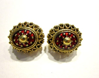 Vintage Joan Rivers Red Earrings Clip Designer Signed Gold Earrings Gift Idea for Mom for Her Jewelry Under 25