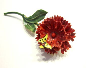 Vintage Sandor Enamel Brooch Red Flower Pin Butterfly Accent Gift for Her Gift for Mom Holiday Gift Idea Under 20 Hostess Gift