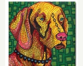 55% Off TODAY- Vizsla art Tile Ceramic Coaster Mexican Folk Art Print of painting by Heather Galler dog (HG884)