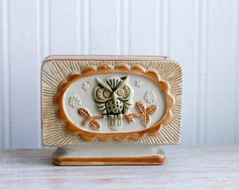 Vintage Owl Napkin Holder, Retro Pottery Owl, Cream Beige Green Orange, 1970's 70s Kitsch Retro Kitchen, Boho Bohemian Style, Woodland
