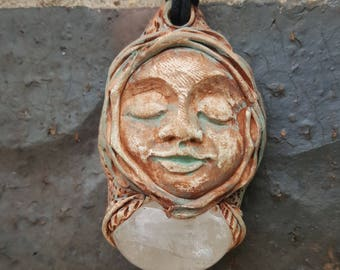 Wild Woman Goddess Sculpture with Quarts Crystal The Sacred Divine Feminine Mother Earth Gaia