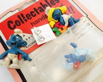 vintage 80s Lot of Smurfs Goodies Earrings Magnets Baby Figure Figurine PVC Miniature Toy MOC MIB In Box on Card Smurfette Skiing Schleich