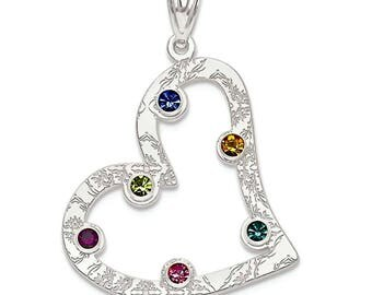 Family Birthstone Inscribed Heart Pendant, 925 Silver Pendant, 1 to 6 Stones, Custom-Made for Your Family Pendant, Valentine's Day Present