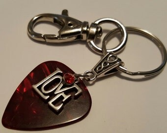 Guitar Pick Key Chain  - Love - Red Guitar Pick  - Guitar Pick Jewelry - Christian Key Chain - Guitar Pick Keychain - Valentines