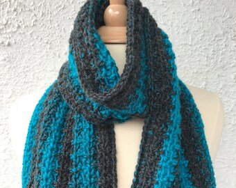 Crochet Scarf in Black Heather and Teal for a Man or Woman Unisex Design
