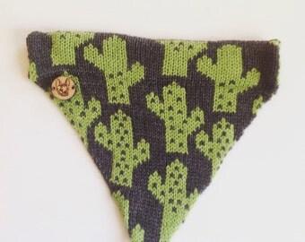 Knitted Cactus Dog Bandana