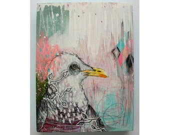 Original seagull painting mixed media art painting on wood canvas 8x6 inches - Erratic Behaviour