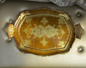 Vtg Gold Gilt Italian FLORENTINE Tole Wood Handled Serving Dresser Vanity TRAY,  ITALY