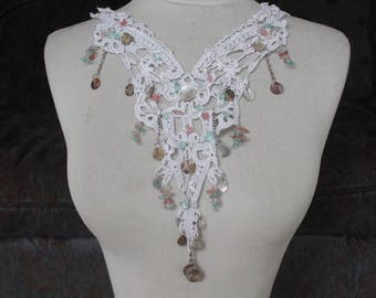 White  color    venice  beaded  embroidered applique yoke