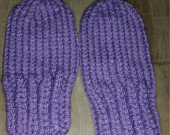 Hand Knit Baby Girl Mittens Size 3-6 Month /Purple /  Ready To Ship