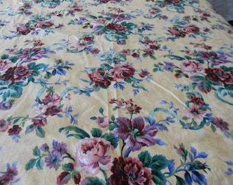 Vintage Fabric Vintage Rose Dasmask home dec fabric c1990s buttercup yellow rosepink lavender moss green cobalt cornflower blue etc