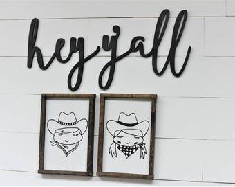 Hey Y'all Words Wood Cut Wall Art Sign Decor