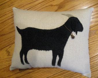 Primitive Folk Art Black Goat Wool Applique Pillow