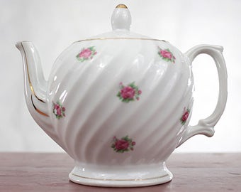 Vintage Electric Teapot Ceramic Round White with Pink Roses and Gold Trim 1950's