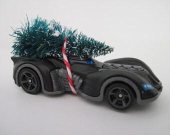 BATMAN Arkham Asylum BATMOBILE - Hot Wheels - CHRISTMAS Ornament, Christmas Display, Embellishment - Christmas Tree Tied to Top