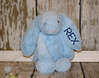 Personalized Easter Bunny - Blue Monogrammed Plush Rabbit