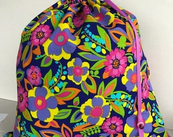 Large Drawstring Project Bag - Sweater Size - Purple Flower Garden - dark purple, pink, yellow, orange