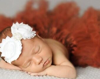 White Shabby Chic Flower Headband With Rhinestones, Baby Headband, Newborn Headband Valenitnes Headband, Dress up headband