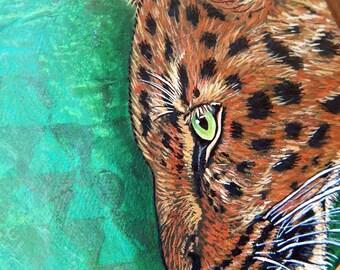 LEOPARD Mixed Media Paintings Jaguar Original Art Totem Animals Spirit Guides Wildlife ART Big Cat Artwork Lotus and Nightshade