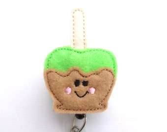 SALE - Retractable Badge Holder Retractable - Caramel apple - lime green and tan felt - nurse badge reel medical staff teacher student nurse