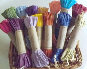 Paper Raffia, 14 Colors, 10 Yards Each, 140 Yards Total