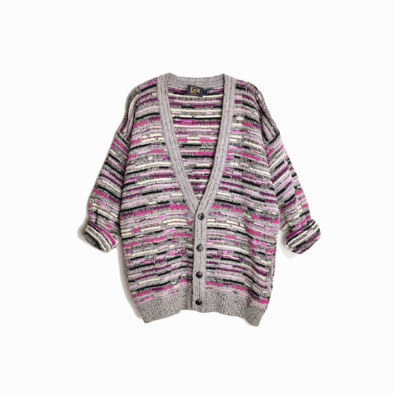 Vintage 90s Crazy Boyfriend Cardigan Sweater / Gray & Pink Cosby Sweater - men's xl