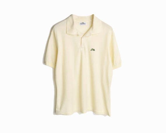 Vintage Pale Yellow Polo Shirt / Short Sleeve Polo / Panther Polo Tee - men's small/medium